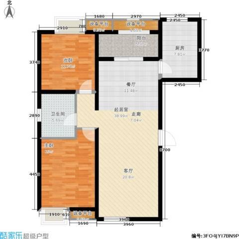 融创洞庭路壹号2室0厅1卫1厨98.00㎡户型图