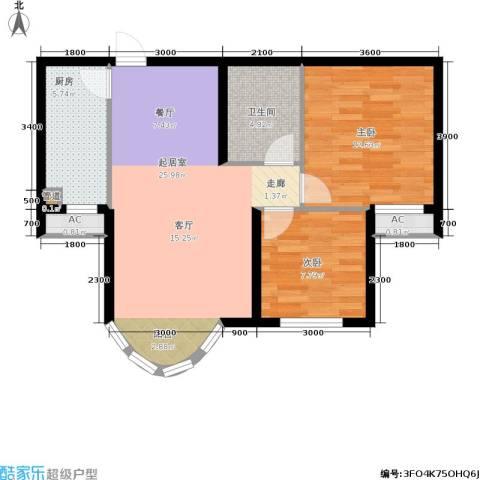 山水太阳城2室0厅1卫1厨89.00㎡户型图