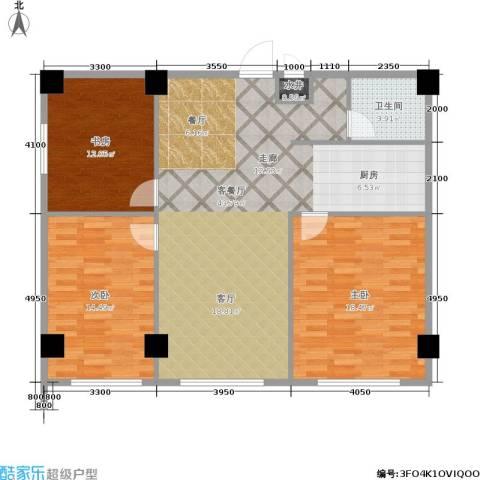 蓝海公寓3室1厅1卫0厨128.00㎡户型图