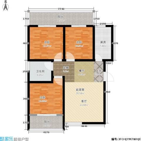 白鹿花园3室0厅1卫1厨124.00㎡户型图