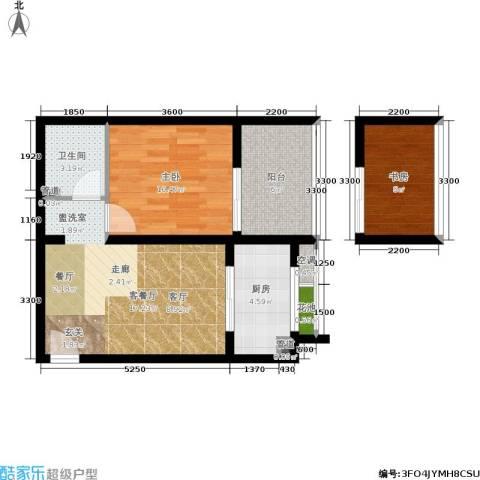 东尚蜂鸟2室1厅1卫1厨61.00㎡户型图