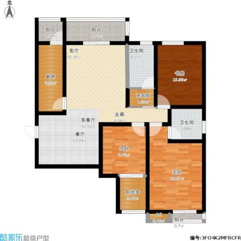 星湖国际花园3室1厅2卫1厨140.00㎡户型图
