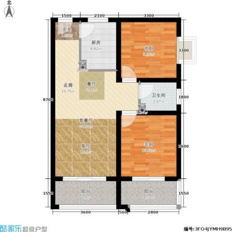 东尚蜂鸟2室1厅1卫1厨88.00㎡户型图