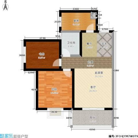 白鹿花园2室0厅1卫1厨83.00㎡户型图