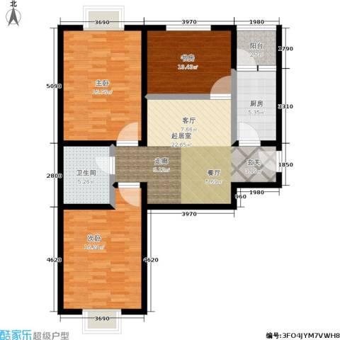 白鹿花园3室0厅1卫1厨91.00㎡户型图