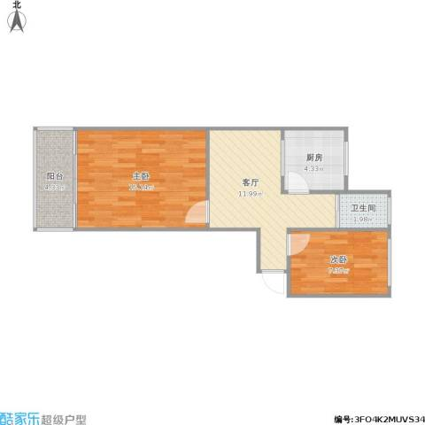 紫竹林小区2室1厅1卫1厨62.00㎡户型图