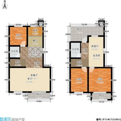 百合世嘉3室1厅2卫1厨171.00㎡户型图