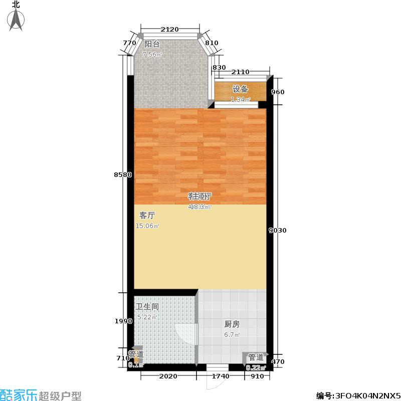 京津新城高尔夫公寓55.67㎡公寓标准层C2户型