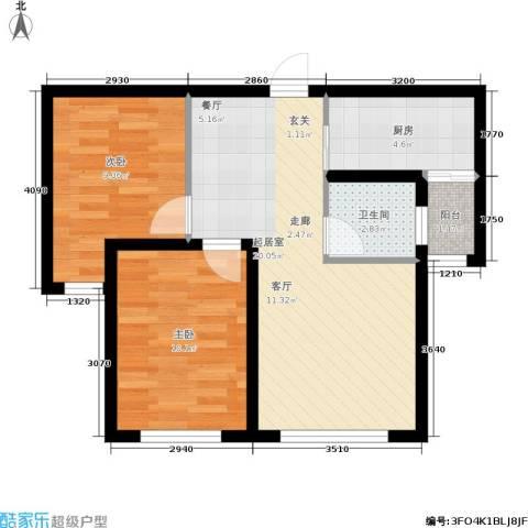 香格里拉花园2室0厅1卫1厨70.00㎡户型图