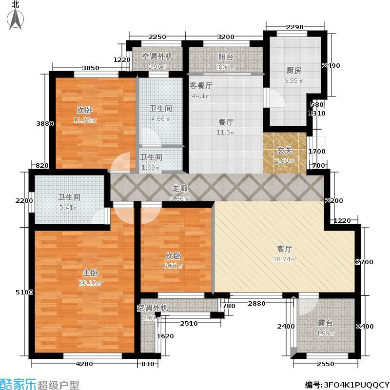 鲁能·7号院134.00㎡F4户型3室2厅