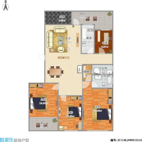 朗诗国际街区(跃层)4室1厅2卫1厨191.00㎡户型图