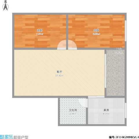 石路基小区2室1厅1卫1厨60.00㎡户型图