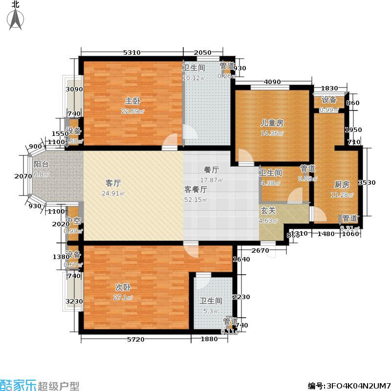 京津新城高尔夫公寓168.78㎡公寓标准层B户型