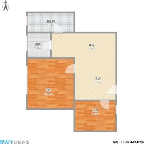 荔湾路小区2室1厅1卫1厨79.00㎡户型图