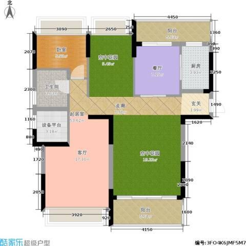中岛明珠1厅1卫1厨125.00㎡户型图