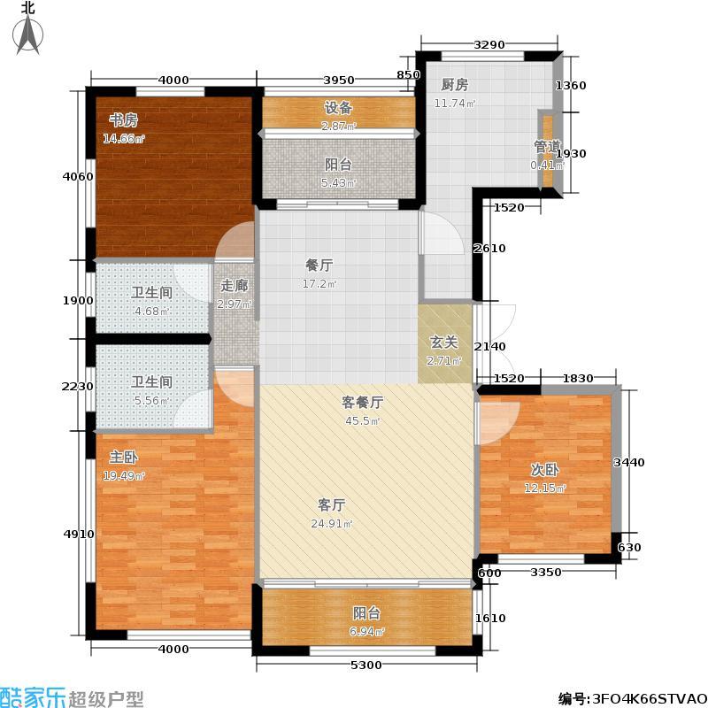 太湖锦园145.00㎡B户型3室2厅2卫