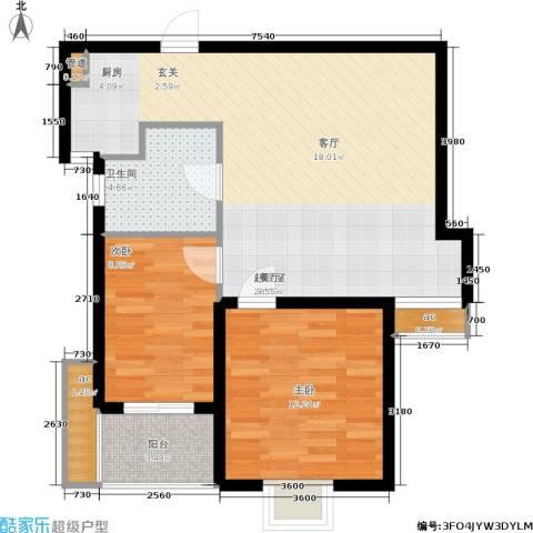 领秀冠南苑2室0厅1卫0厨69.00㎡户型图