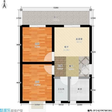 白鹿花园2室0厅1卫1厨70.00㎡户型图
