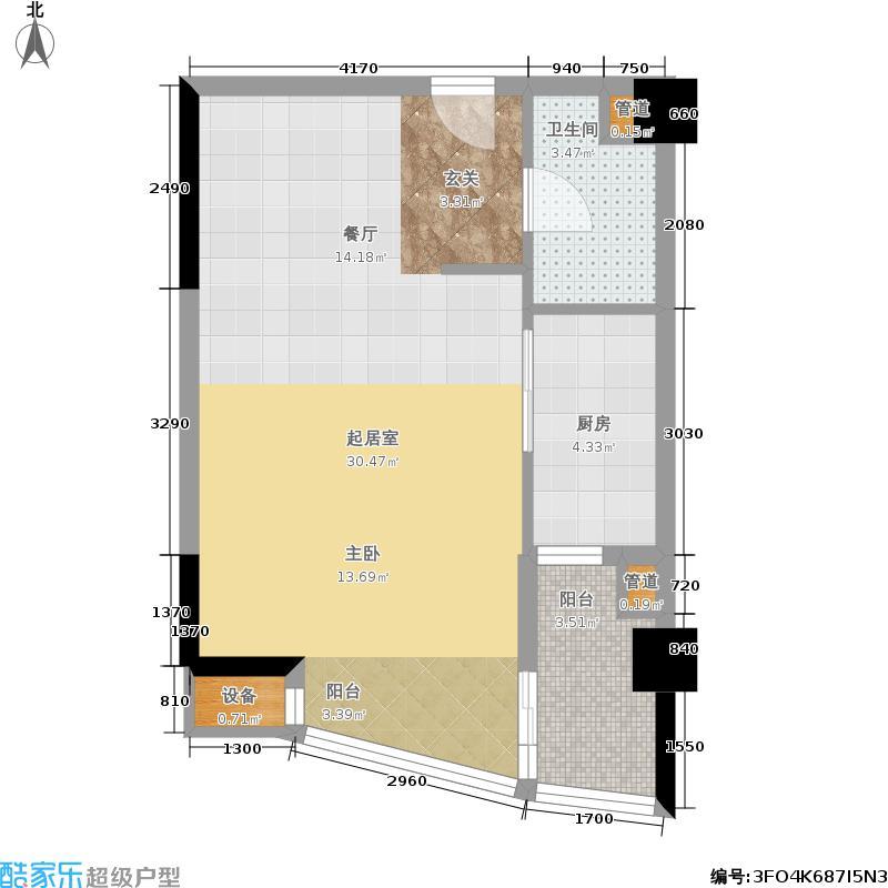 富安华庭49.74㎡精英荟11(12)户型1室1厅1卫