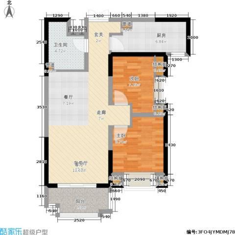 紫薇东进2室1厅1卫1厨93.00㎡户型图