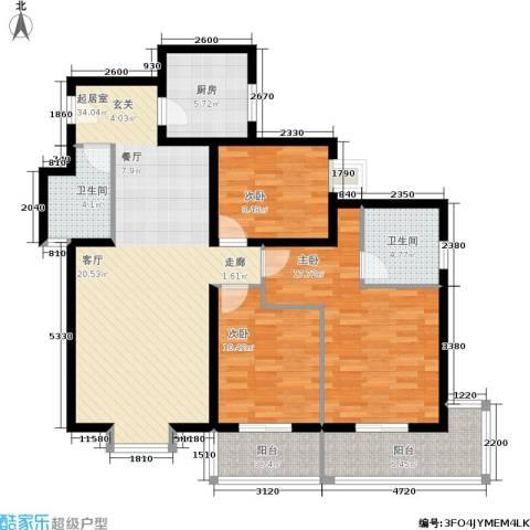 朱雀坊3室0厅2卫1厨138.00㎡户型图