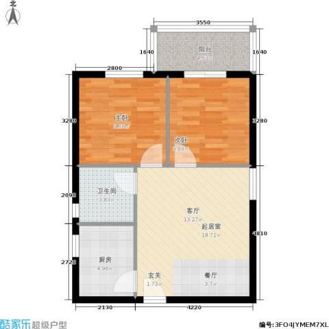 朱雀坊2室0厅1卫1厨71.00㎡户型图