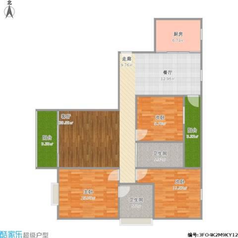 磨山新村3室1厅2卫1厨138.00㎡户型图