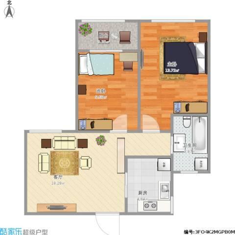 绿地世纪城2室1厅1卫1厨73.00㎡户型图