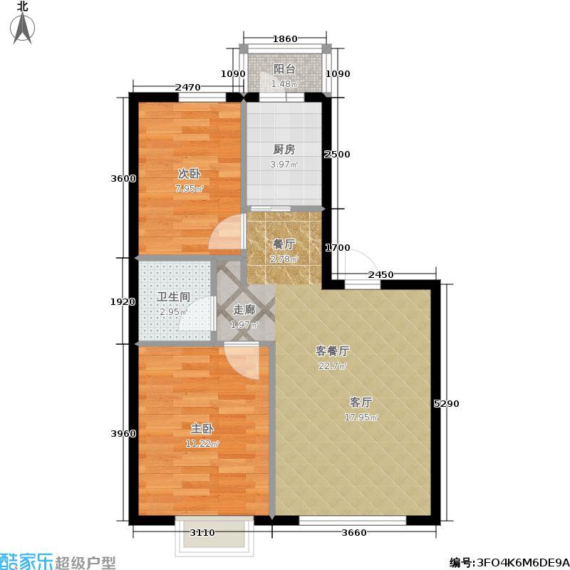 格兰云天两室一厅一卫使用面积53.02-54.95户型2室1厅1卫