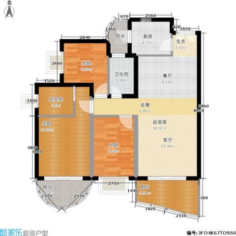 东逸翠苑3室0厅2卫1厨96.22㎡户型图