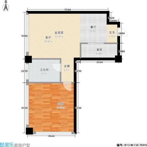 龙海国际1室0厅1卫1厨68.00㎡户型图