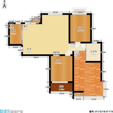 领秀冠南苑3室0厅1卫1厨121.00㎡户型图