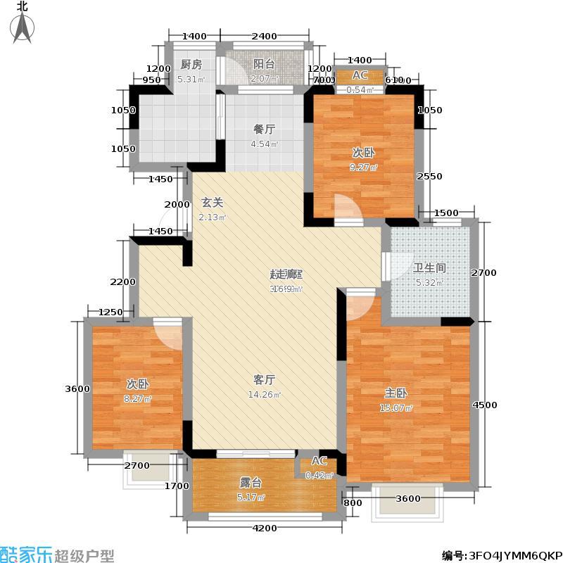 大地12城118.09㎡一期26-28号楼标准层C户型