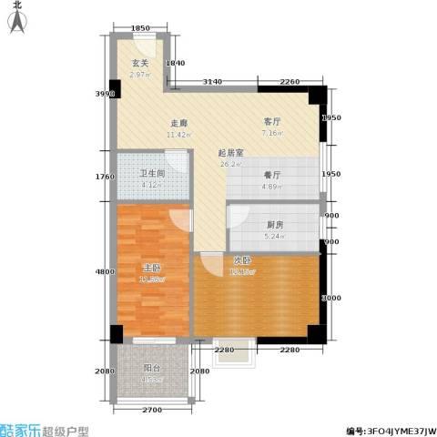 宏信国际花园2室0厅1卫1厨88.00㎡户型图