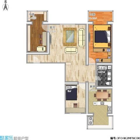 东旭小区3室1厅1卫1厨123.00㎡户型图