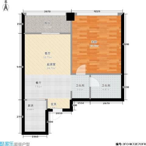 龙海国际1室0厅1卫1厨65.00㎡户型图