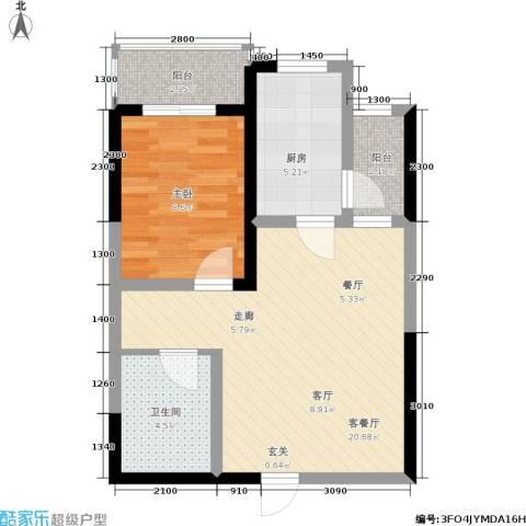 西江月1室1厅1卫1厨62.00㎡户型图