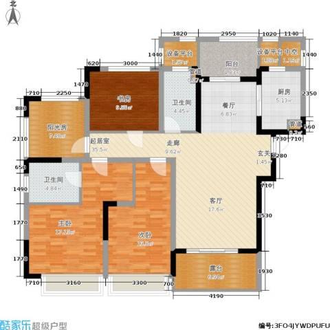 绿地华尔道名邸3室0厅2卫1厨132.00㎡户型图