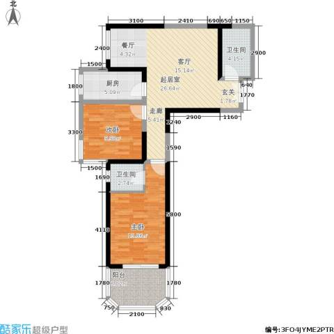 宏信国际花园2室0厅2卫1厨95.00㎡户型图