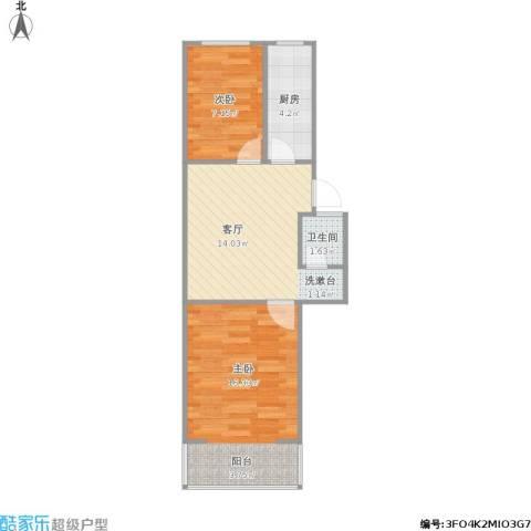 凤栖苑2室1厅1卫1厨59.00㎡户型图
