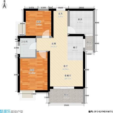 西江月2室1厅1卫1厨88.00㎡户型图