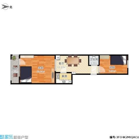 北京理工大学附中教工宿舍2室1厅1卫1厨55.00㎡户型图
