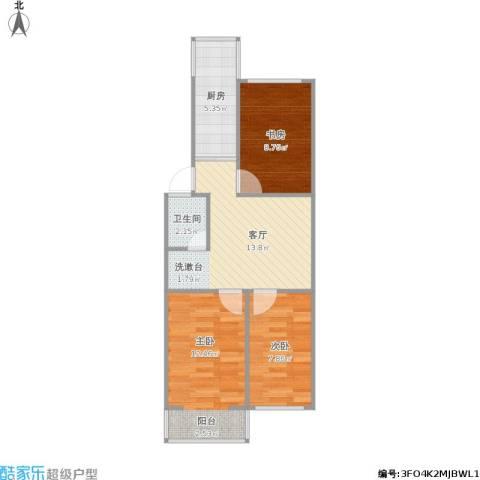 芳草园3室1厅1卫1厨69.00㎡户型图