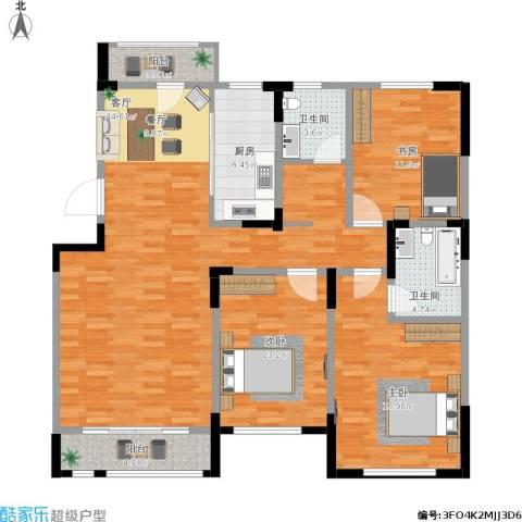 松江城洋房3室1厅2卫1厨154.00㎡户型图