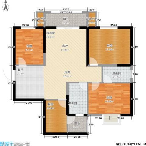 简约花园3室0厅2卫1厨113.00㎡户型图