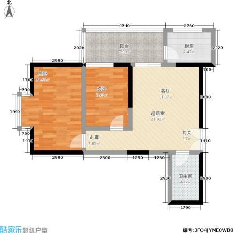 宏信国际花园2室0厅1卫1厨84.00㎡户型图
