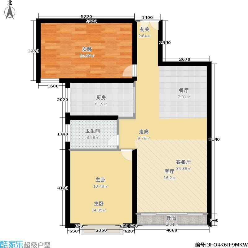 龙兴凯旋城85.62㎡B户型 两房两厅一卫户型2室2厅1卫