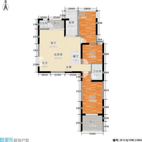 宏信国际花园3室0厅2卫1厨130.00㎡户型图