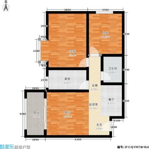 馨雅园2室0厅1卫1厨96.00㎡户型图