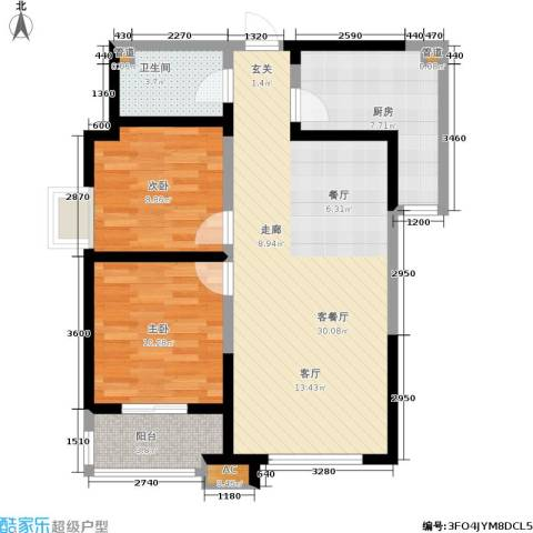 上和城2室1厅1卫1厨90.00㎡户型图